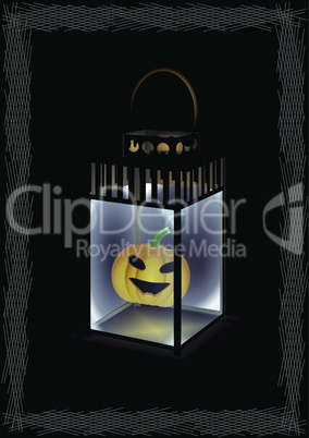 Iron lantern with pumpkin