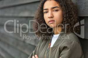 Sad Mixed Race African American Teenager Woman Green Bomber Jack