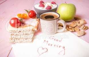 Healthy food and good morning message