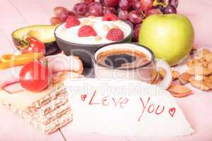 Love you note and an abundant breakfast