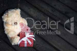 Teddy bear and label with message
