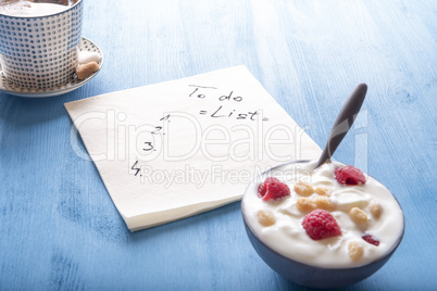 To do list with breakfast