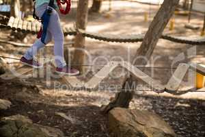 Low section of kid crossing zip line