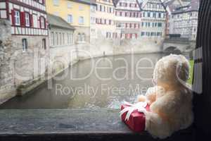 Plush toy and gift in German town