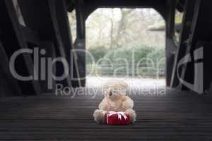 Teddy bear and gift in a wooden tunnel