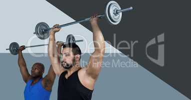 Fitness trainer men doing weights with minimal shapes