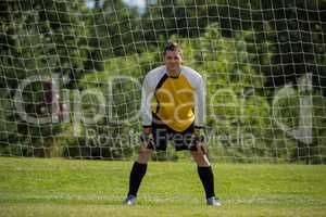 Goalkeeper standing near goal post