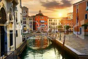 Venetian cityscape at sunrise