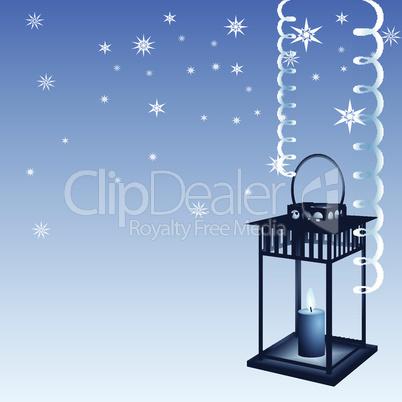 Blue Christmas with lantern