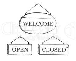 Welcome, open, closed plank sign set. Vintage doodle wooden signboard