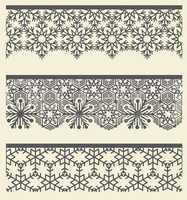 Floral arabic lacy seamless border. Snow line pattern set.