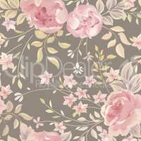 Floral seamless pattern. Flower background. Flourish garden text