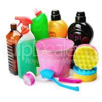 set of household chemicals, bucket and brushe for cleaning isola