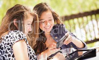 Expressive Young Adult Girlfriends Using Their Computer Electron