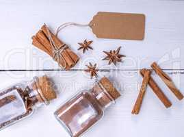 cinnamon stick, cinnamon powder and spice star anise