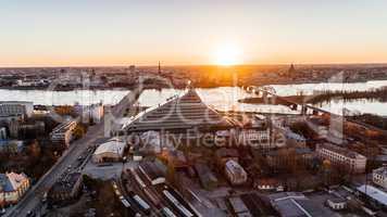 Riga City Sunrise colors Old Town view and Daugava River