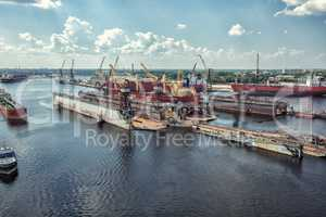 Shipyard Riga City Daugava river from above