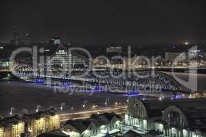 Riga city night drone flight