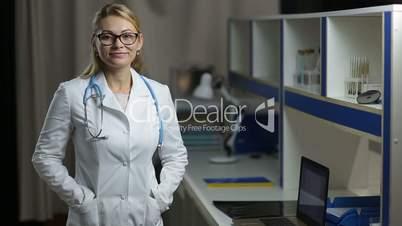 Portrait of glad female doctor smiling at hospital