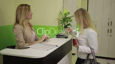 Customer making payment through payment terminal