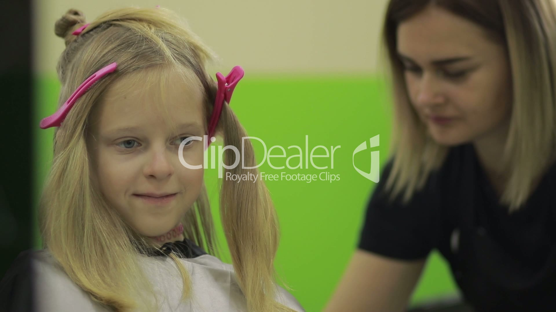 Happy Girl Getting A New Haircut By Hairdresser Royalty Free Video