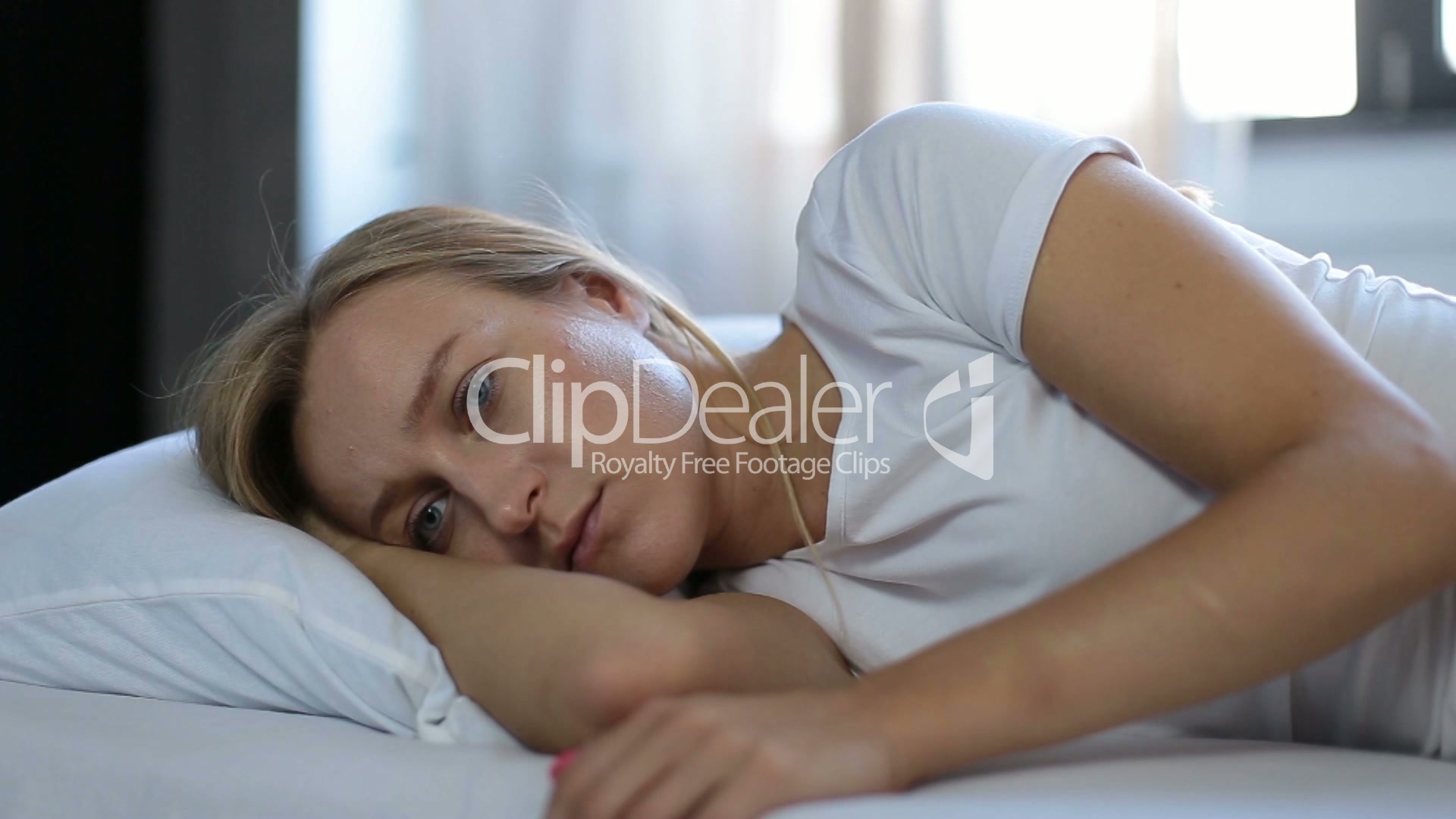 Depressed Woman Propped Up On Pillow In Bed Royalty Free Video And