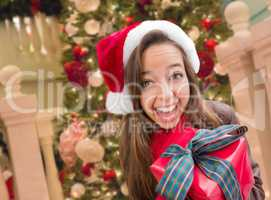 Girl Wearing A Christmas Santa Hat with Bow Wrapped Gift In Fron