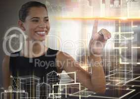 Building structure interface and Businesswoman touching air in front of office