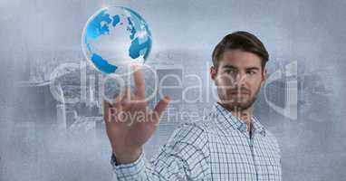 World globe bubble and Businessman touching air in front of city