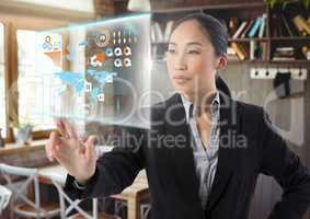 Data interface and Businesswoman touching air in front of cafe