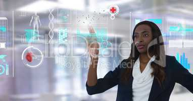 Medical health interface and Businesswoman touching air in front of office