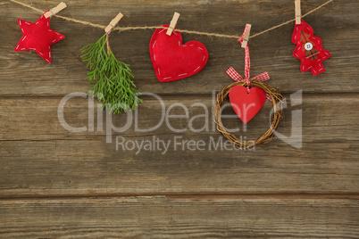 Christmas decoration arranged on rope