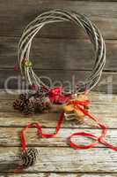 Christmas decorations on wooden plank