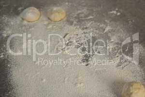 Dough balls and flour