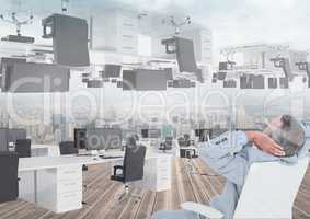 businessman sitting in inverted office with skyline