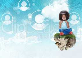 Young Girl on floating rock platform  in sky with people profiles interface