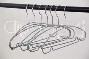 Hangers arranged on clothes rack
