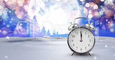 Midnight clock in Christmas Winter landscape