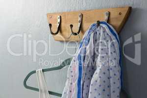 Scarf hanging on hook