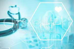 Composite image of digital background with heart movement sign