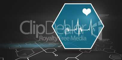 Digital background with heart movement sign