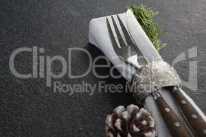 Fork, butter knife, fern and napkin with pine cone
