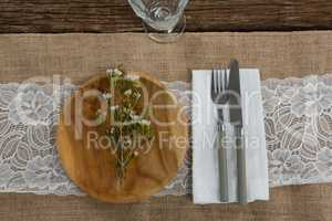 Flora arranged on plate with cutlery and napkin