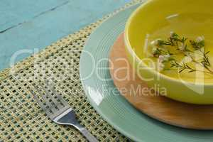 Table setting on placemat