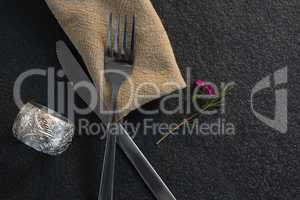 Place setting equipment on concrete background