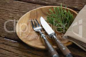 Flora and cutlery arranged on plate with table cloth
