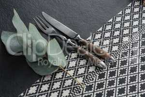 Fork, butter knife with leaf on a table cloth