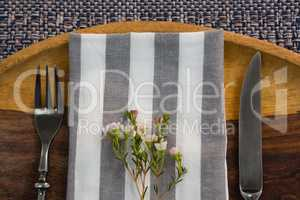 Elegance table setting on placemat