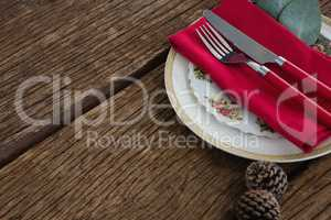 Pine cone with fork, butter knife, napkin and leaf in a plate
