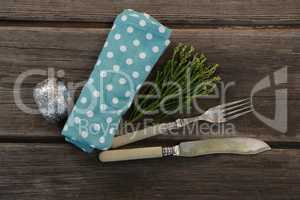 Place setting equipment on wooden plank